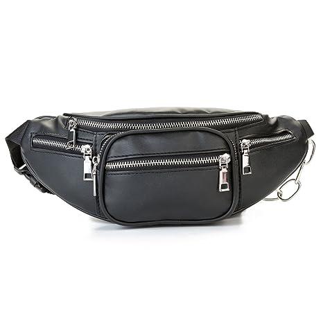 b8b31cb454b MODARANI Cool Black Fanny Pack Bum Bag for Women Big Girls Multi-Pockets PU  Leather Waist Pack with Adjustable Belt