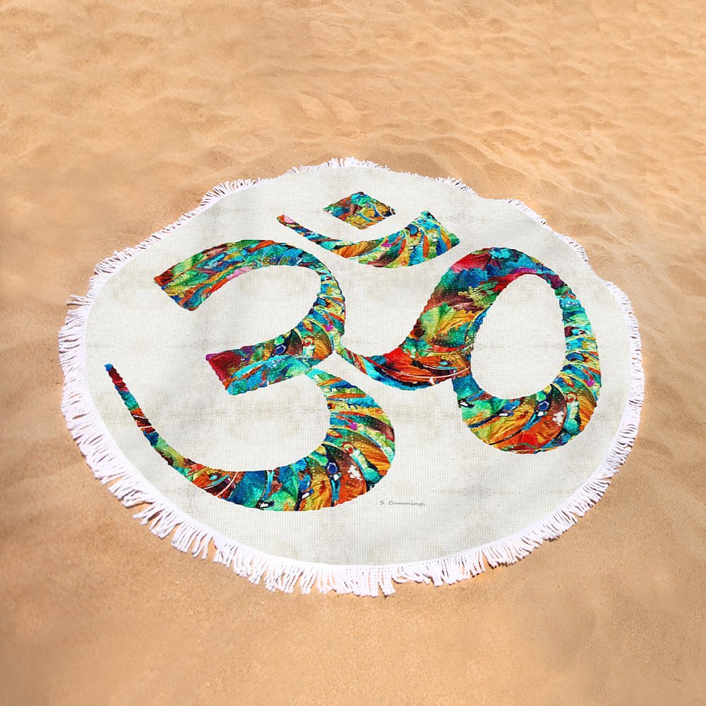 Pixels Round Beach Towel With Tassels featuring ''Colorful Om Symbol - Sharon Cummings'' by Sharon Cummings