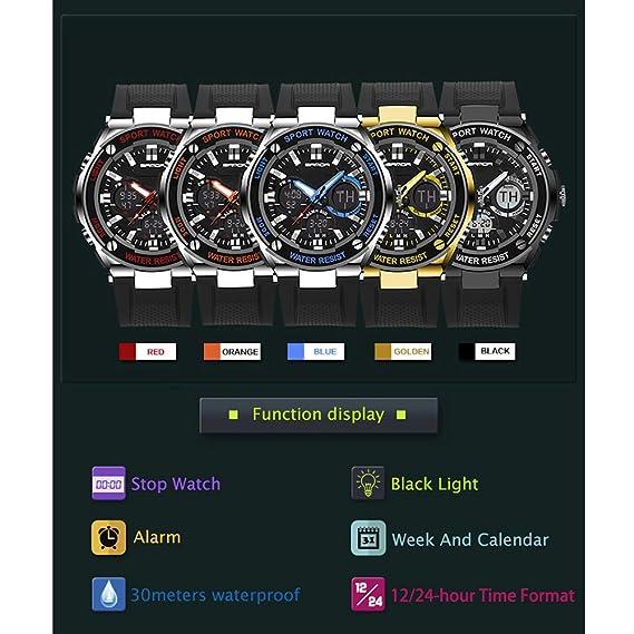 Reloj de Pulsera Deportivo SANDA Hombres Digital Electronica Shake Impermeable Reloj Analógico de Cuarzo (Naranja): Amazon.es: Relojes