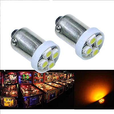 Per-Accurate Inc. PA 10PCS #1893 #44 #47 #756 #1847 BA9S 4SMD LED Wedge Pinball Machine Light Bulb Yellow(Orange/ Amber)-6.3V: Toys & Games