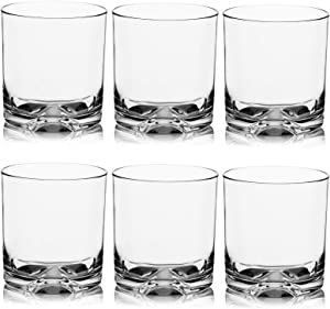 Unbreakable Plastic Whiskey Rocks Glasses Tumblers Double Old Fashioned Tritan Clear Drinking Beer Glassware 9 OZ, Shatterproof, BPA-FREE, Dishwasher safe (6 (9 oz))