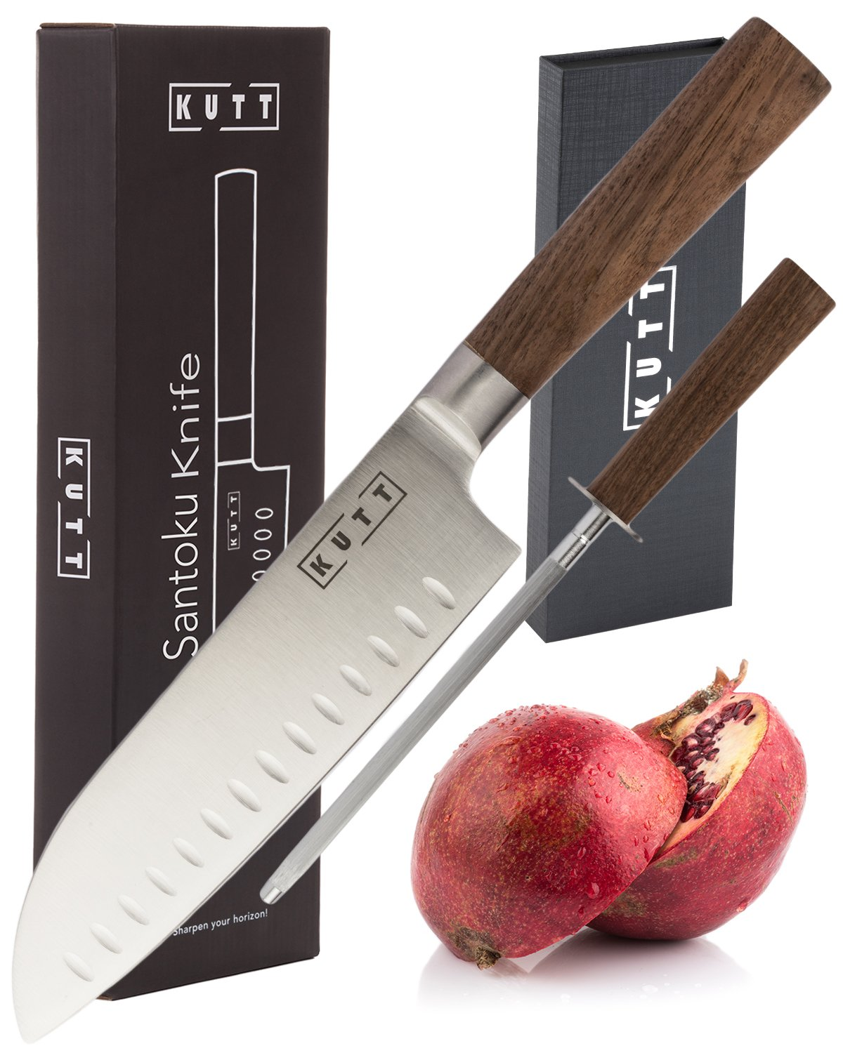Kutt Santoku Knife | 7 inch Professional Chef Knife | High Carbon Stainless Steel Kitchen Knife | Knife Sharpener included