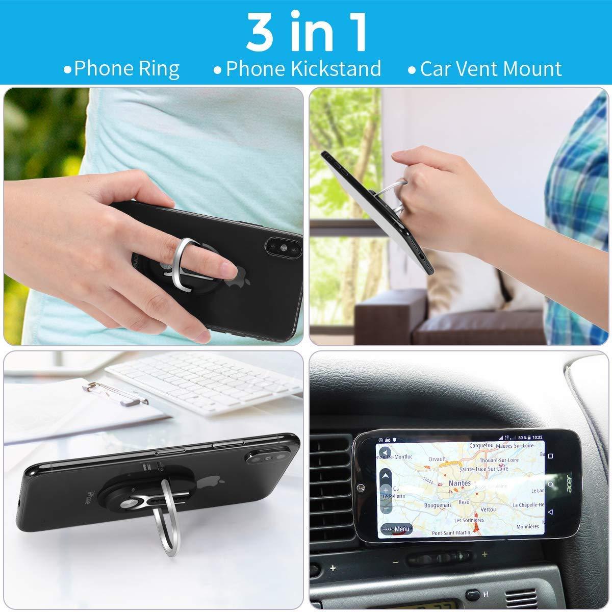 Universal Air Vent Car Phone Mount 3 in 1 Mobile Phone Stand 360 Degree Rotation Multipurpose Phone Bracket Phone Ring Holder Finger Kickstand Blue