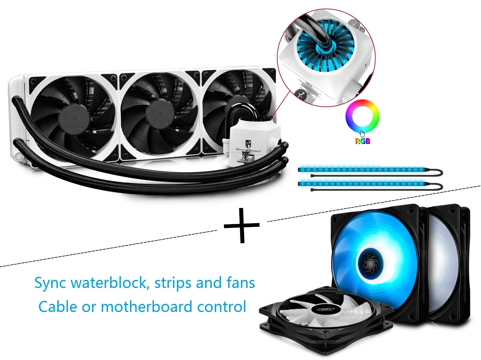 BUNDLING SALE of DEEPCOOL CAPTAIN 360EX RGB WH and RF120 3IN1, RGB of Waterblock, 2 Strips and 3 RF120 Fans are Synchronous with Cable Controller or Motherboard Control, AM4 Compatible 3-year Warranty