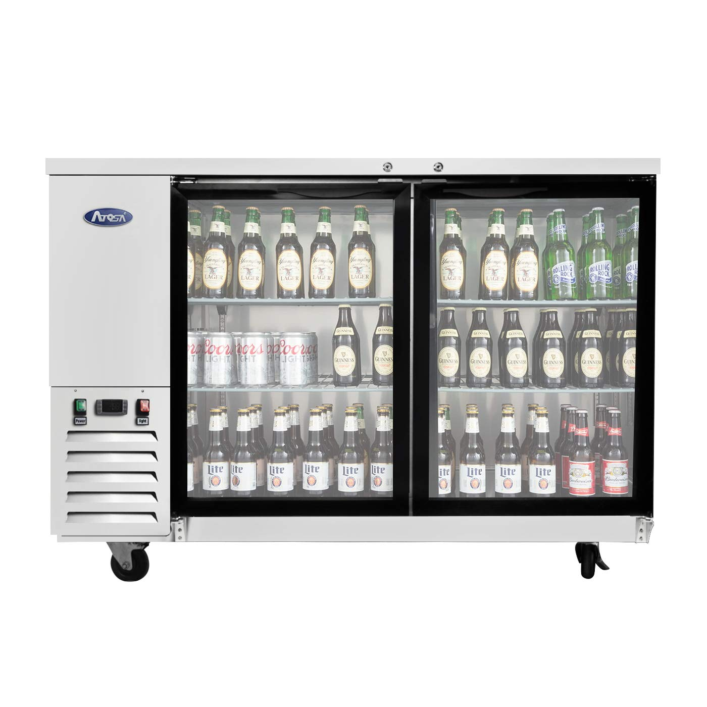 Counter Height Refrigerator, ATOSA Beverage Refrigerators with 2 Glass Door, 17.3 Cu.Ft. MBB59G