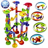 Marble Run Set, 105 Pieces Translucent Marble Track Game & 30 Marbles Maze Buliding for Children Toddler