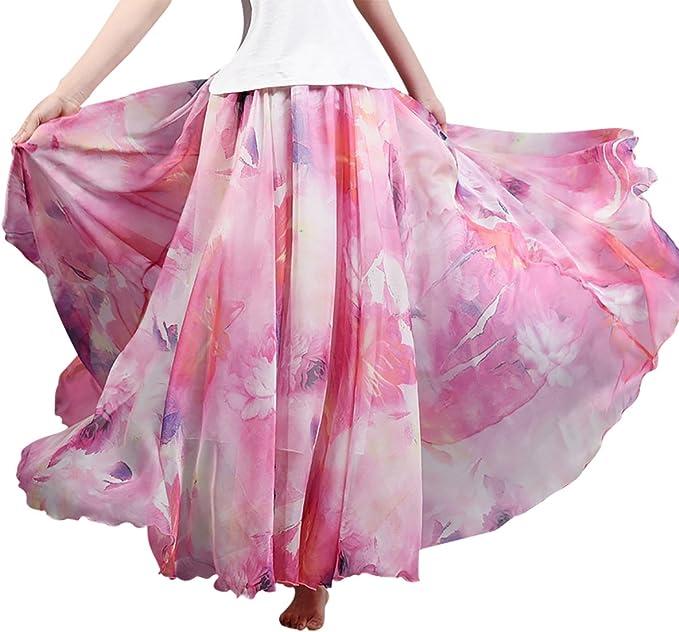 FEOYA - Falda Maxi Larga de Gasa Estampado Floral Skirt para Mujer ...