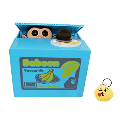 Free Emoji Keychain + Cute Stealing Coin Money Banana Box Monkey Bank Perfect Gift ~ WPYST: Toys & Games