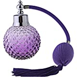 UNIQLED Crystal Art Vintage Style Empty Refillable Perfume Atomizer Long Tassel Spray Bottle 100ml (Purple)