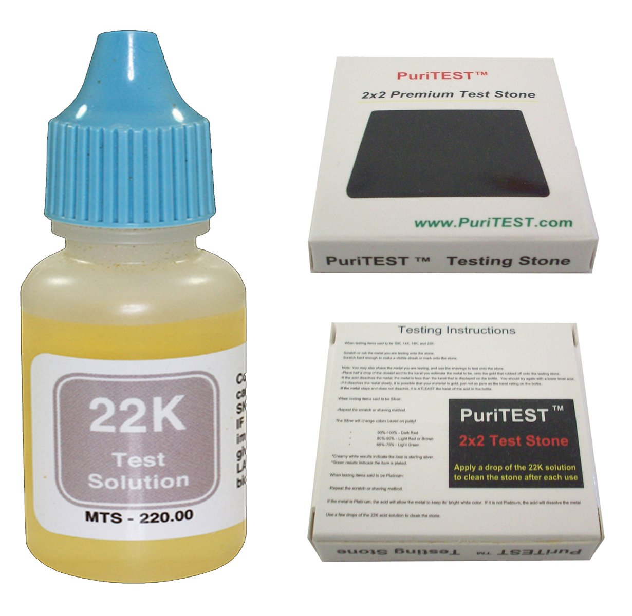 22k Gold Test Solution Tester Acid Bottle + 2x2 Testing Stone! Detect Scrap Nuggets Metal Jewelry Kit PuriTEST 4336836048