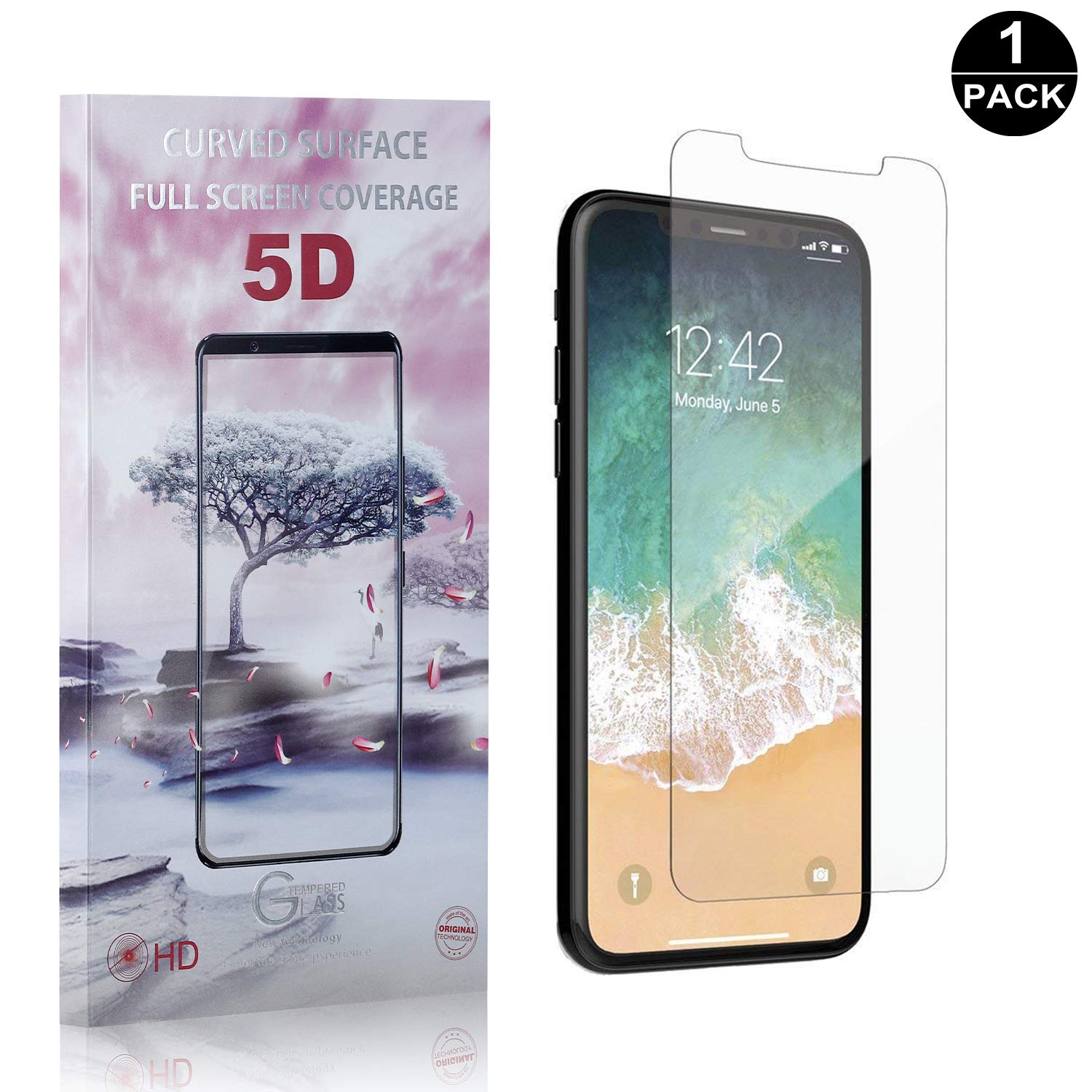 Keine Luftblasen Bear Village/® iPhone X//iPhone XS Displayschutzfolie Anti-Fingerabdruck 1 St/ück 3D Touch 9H Schutzfilm aus Geh/ärtetem Glas f/ür Apple iPhone X//iPhone XS