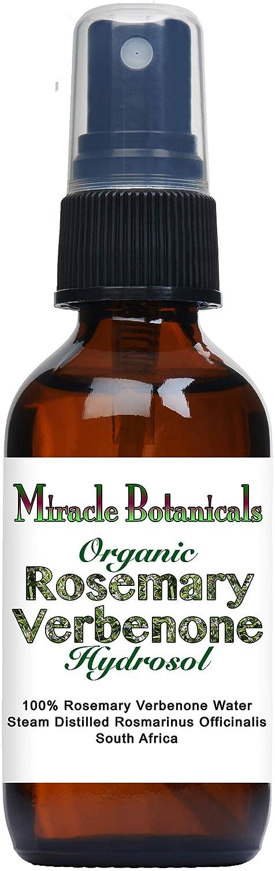Miracle Botanicals Organic Rosemary Verbenone Hydrosol - 100% Rosmarinus Officinalis Verbenone Water - Therapeutic Grade - 60ml