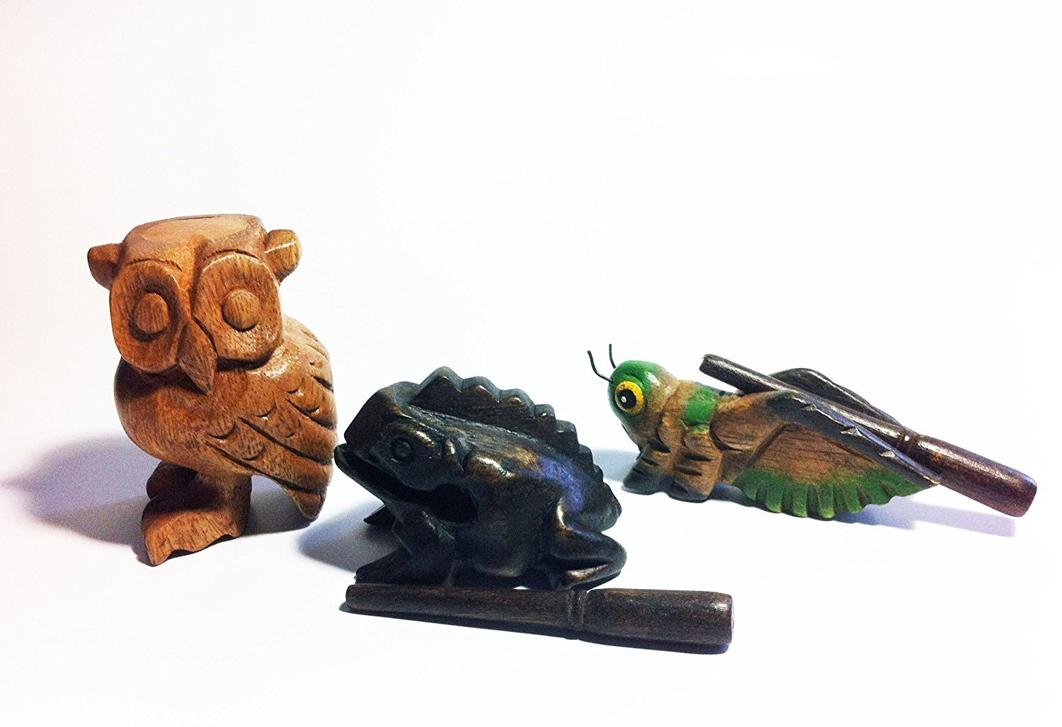 Wooden Percussion 3 Piece Set Frog, Cricket and Owl, 3 Inches by WADSUWAN SHOP
