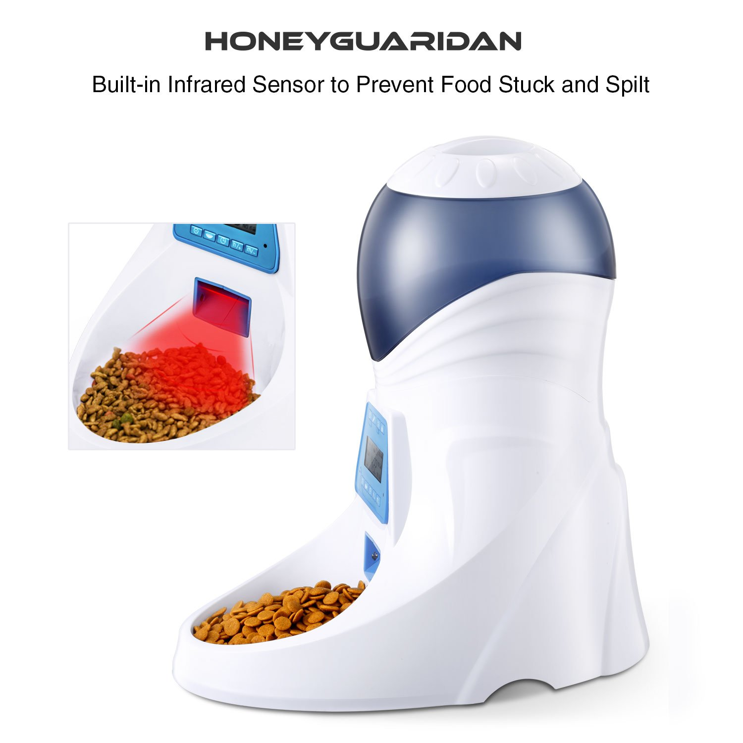 HoneyGuaridan A25 Automatic Pet Feeder Food Dispenser with Removable Food Container, Portion Control,Voice Recording and Timer Programmable, 6-Meal for Dogs (Medium and Small) and Cats & Small Animal by HoneyGuaridan (Image #4)