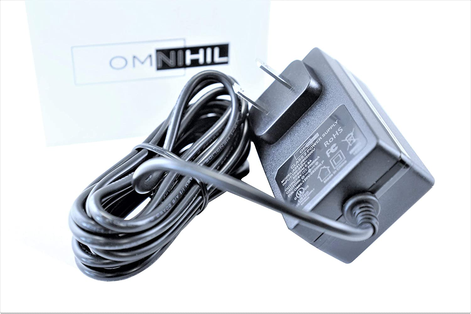 UL Listed OMNIHIL 8 Feet Long AC//DC Adapter Compatible with Luzan 5.1 Audio Gear Digital Sound Decoder Converter Power Supply Adaptor