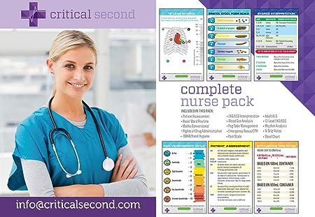 14 tarjetas de identificación completas para enfermera, RN, CCRN, tarjetas de educación, 100 % resistente al agua, tarjetas de información de enfermería laminada, de Ward a ICU Complete Nursing Pack – Critical