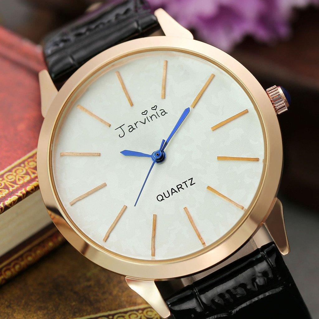 JSDDE Uhren,Elegant Frauen Armbanduhr Einfach Skala Damenuhr Echtleder Armband Rosegold Analog Qaurzuhr J626M,Schwarz