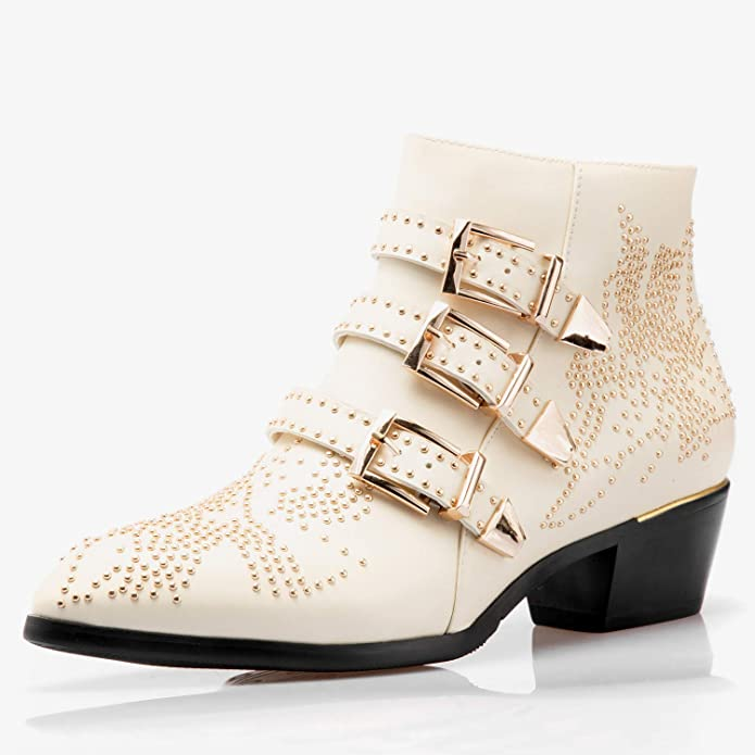 04f39d35 Comfity Boots for Women,Women's Leather Boot Rivets Studded Shoes Metal  Buckle Low Heels Ankle Studded Booties