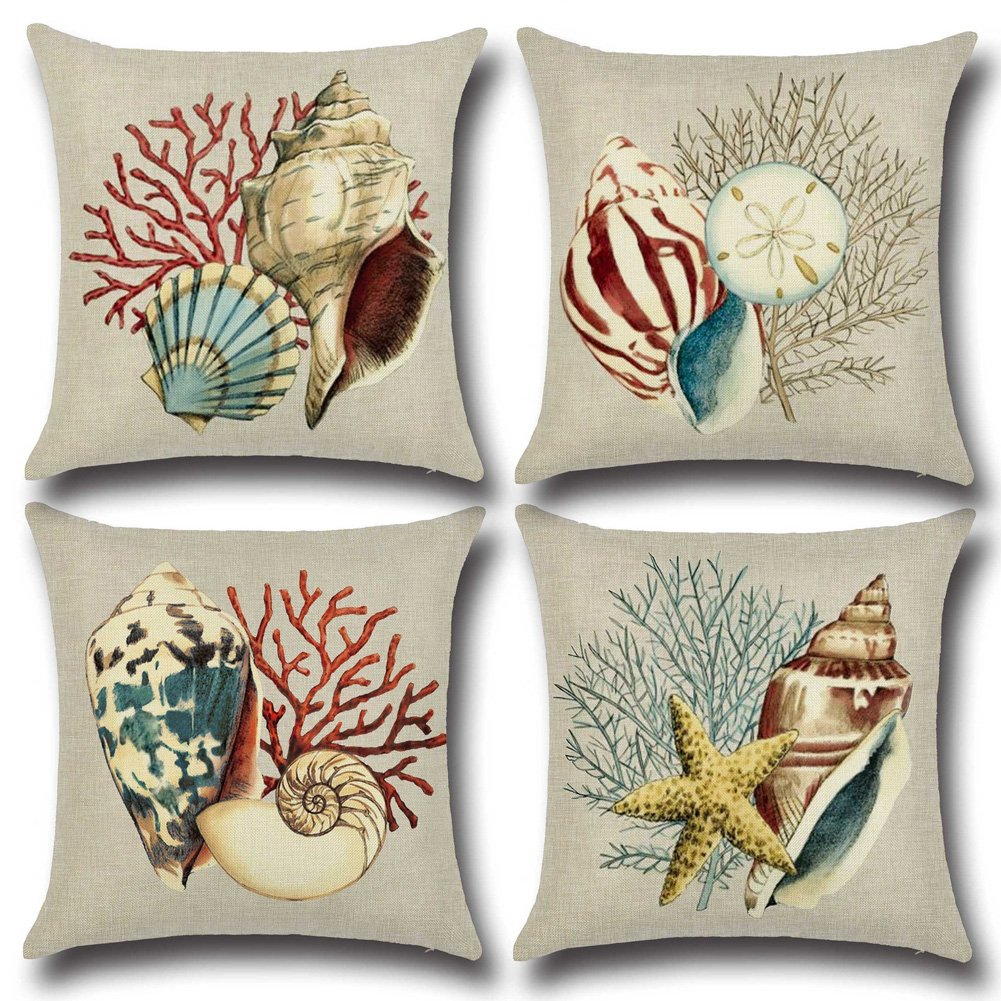 mixinni Decorative Pillowcase Covers With Zipper Standard 4 Pack Ocean Theme Seashell Pattern Square Cotton Throw Pillow Case 18'' X 18''