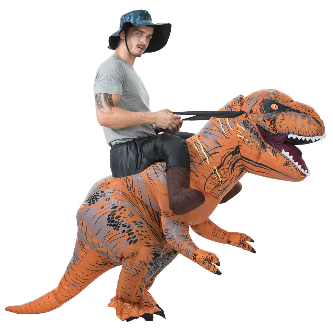 T-Rex Riding Costume Adult Inflatable Dinosaur Costume for Halloween, Christmas Party Halloween costums 2018 Christmas Party.