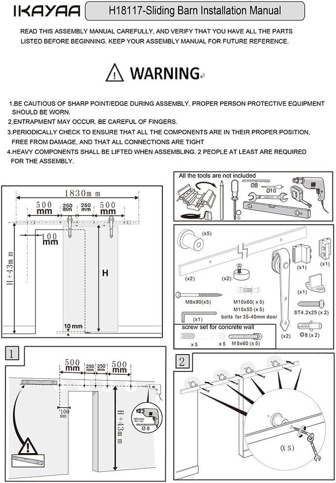 iKayaa 7FT Schiebet/ürbeschlag Schiebet/ürsystem T/ür-Hardware-Kit aus Stahl f/ür Schiebet/üren Innent/üren