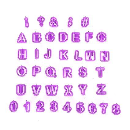 Ectxo Letras y números Moldes para Cocina Tartas Fondant Moldes para Decorar (26 Letras,
