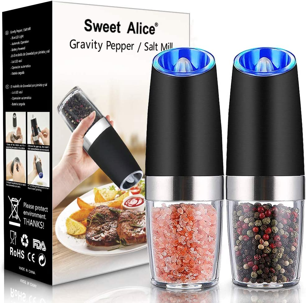 Gravity Electric Pepper and Salt Grinder Set, Adjustable Coarseness, Battery Powered with LED Light, One Hand Automatic Operation, Stainless Steel Black, 2 Pack