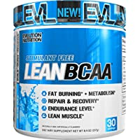 Evlution Nutrition LeanBCAA, BCAA's, CLA and L-Carnitine, Stimulant-Free, Recover and Burn Fat, Sugar and Gluten Free (Blue Raz, 30 Servings)