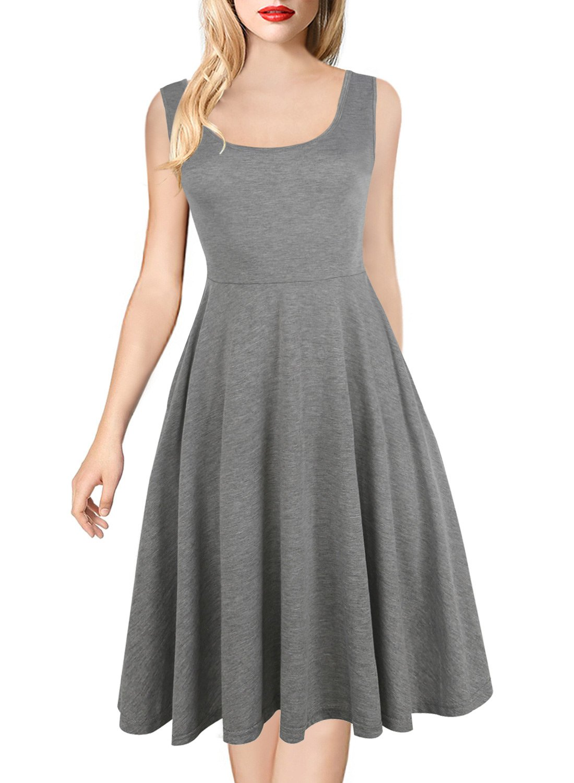 HELYO Women's Summer Beach Cotton Cocktail Pockets Sleeveless Vintage Flared Tank Dress for Work 169 Grey XL