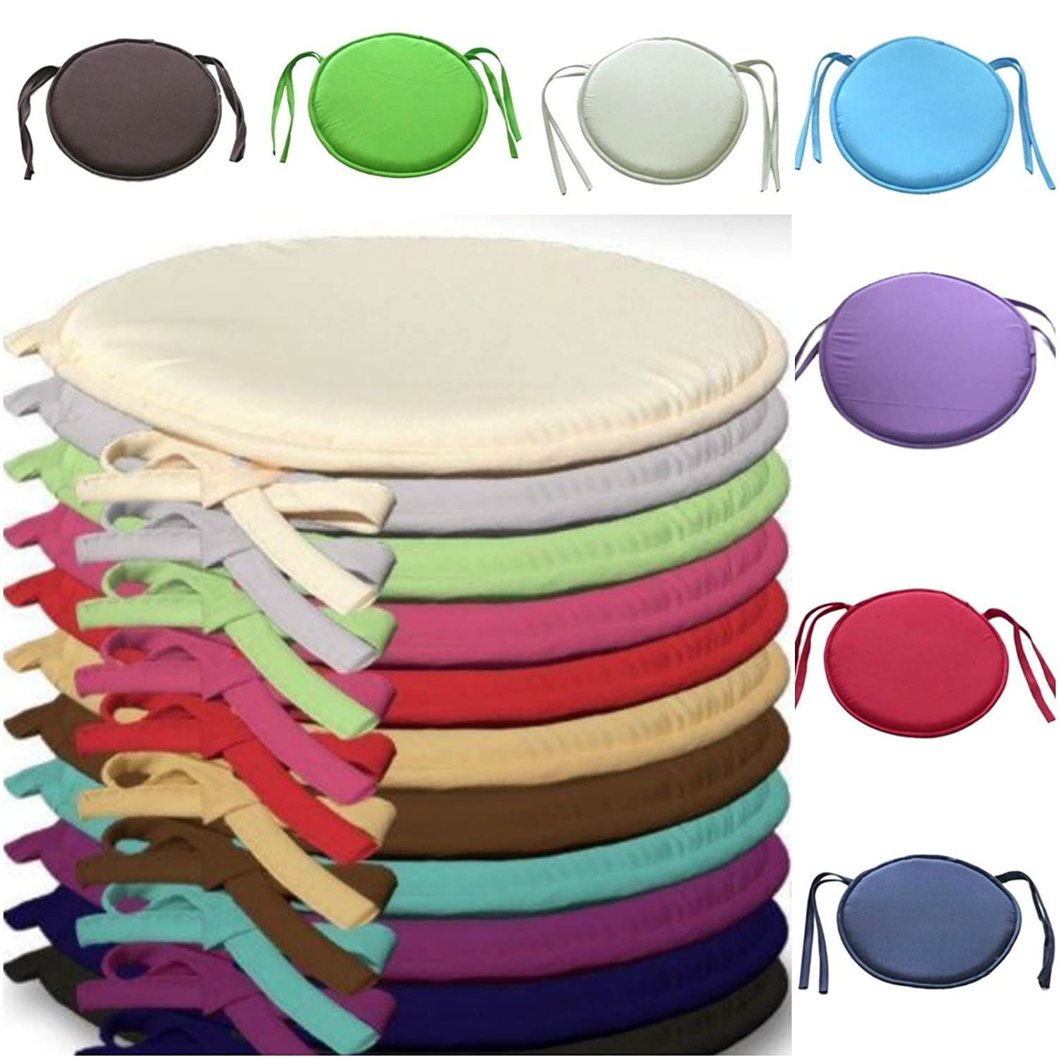 Amber Linen Luxury Round Seat Pads Garden Dining Chair Foam Cushions With Tie On **New (Black, 2)