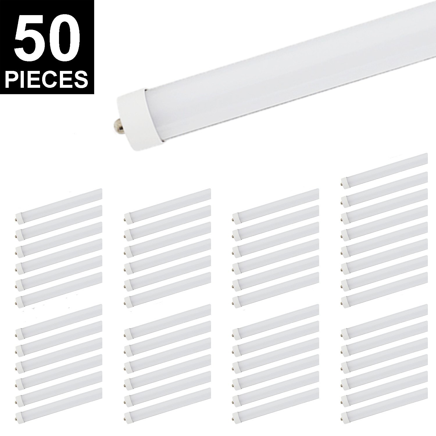 CNSUNWAY LIGHTING 8ft LED Tube, 96'' 45Watt T8 FA8 Single Pin LED Bulbs With Frosted Cover, 4800LM Super Bright 6000K Cool White(50 Pieces) by CNSUNWAY LIGHTING