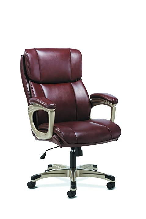 Basyx By HON Executive Computer Chair  Fixed Arms For Office Desk, Brown  Leather (