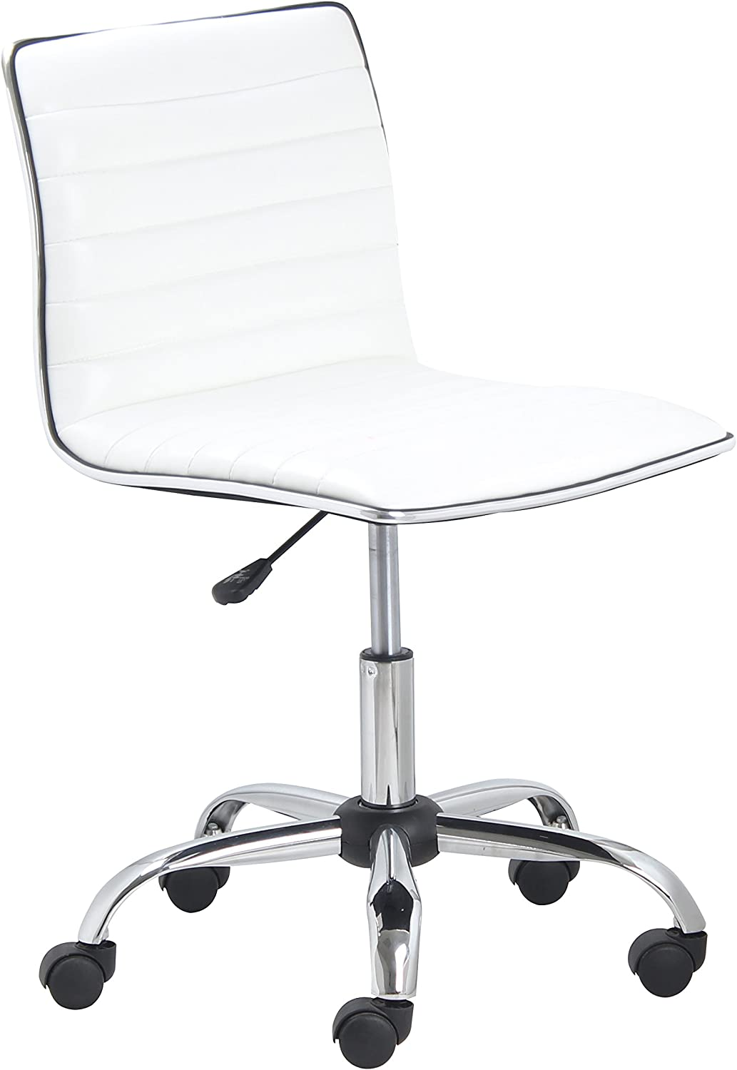 Btexpert Btexpert Swivel Mid Back Armless Ribbed Designer Task Chair Leather Soft Upholstery Office Chair White Home Kitchen Amazon Com