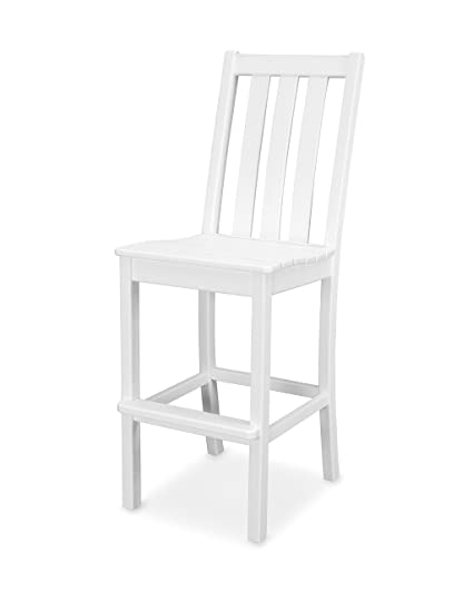 Amazon.com: POLYWOOD viñedo Barra lateral silla, Blanco ...