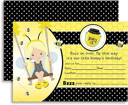 Custom Printable Girls Birthday Invitation Any Age Bumble Bee Little Honey