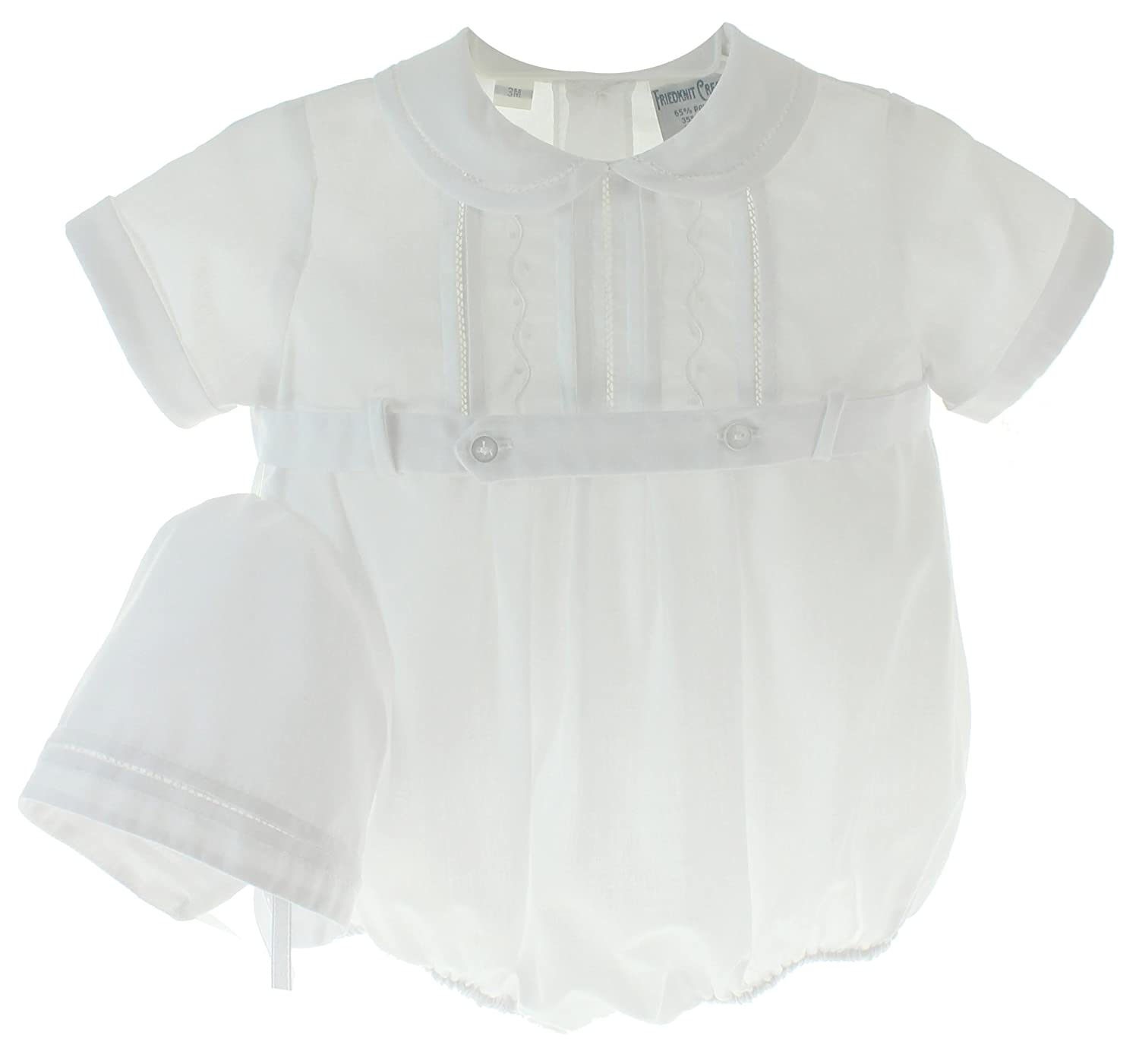 Friedknit Creations Boys White Christening Outfit With Hat Set Belted Bubble Romper