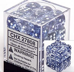 Chessex Dice d6 Sets: Nebula Black with White - 12mm Six Sided Die (36) Block of Dice