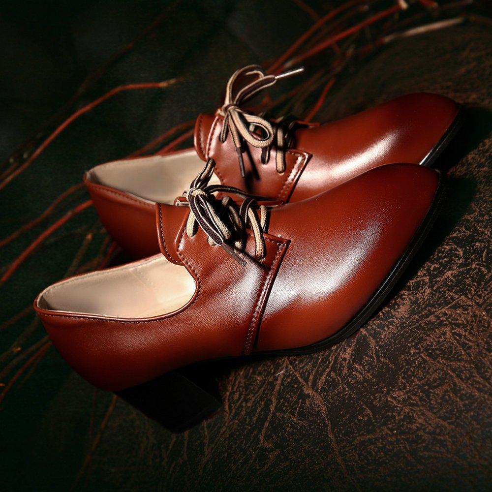 7a791231ad AnMengXinLing LIDOUHONG-60-T-8005 - Zapatos de Vestir de Cuero para Mujer   Amazon.es  Zapatos y complementos
