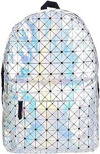 Bagsmall Leather Backpack Women Hologram Laptop Backpack For School Laser Silver Color Holographic Bag backpacks (silver)