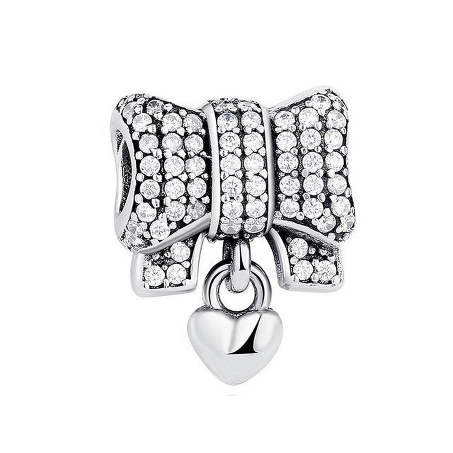 Evereena Silver Beads Bracelet for Girls Heart Gift /& Bow Charms Fit Original Womens Jewelry