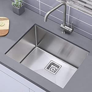 Comllen Commercial 24 Inch 304 Stainless Steel Kitchen Sink,Single Bowl Kitchen Sink 12 Inch Deep Handmade Undermount Modern Kitchen Sink