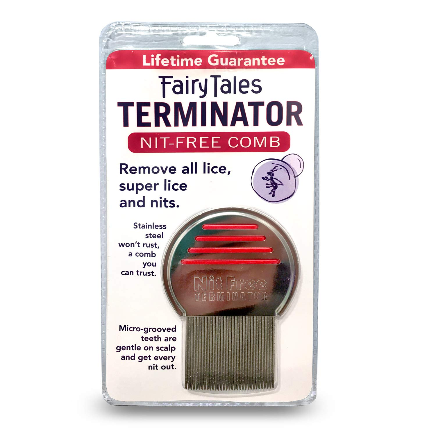 Terminator Metal Lice Comb by Fairy Tales for Kids - 1 pc Comb by Fairy Tales