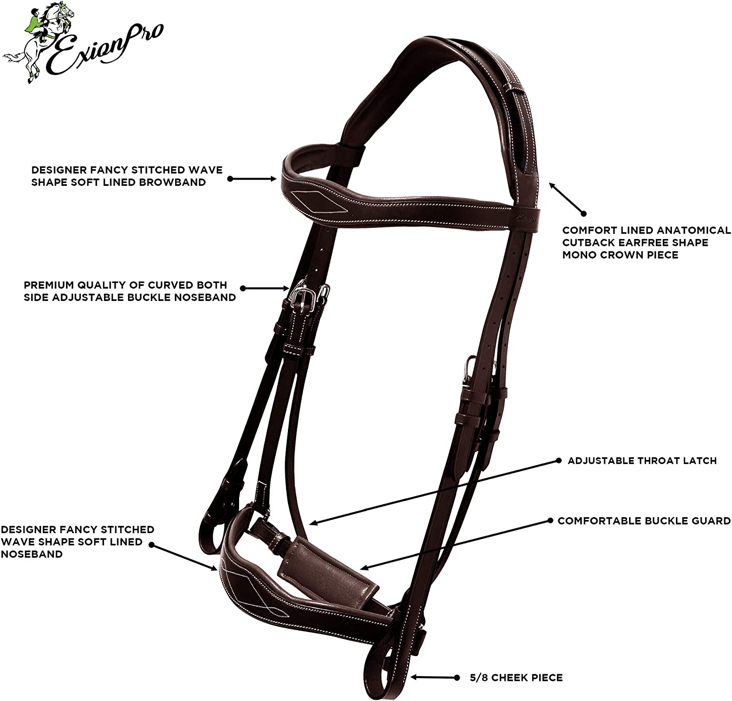 ExionPro Broad Cutback Wave Shape Mono Crownpiece Designer Fancy Stitched Wave Crank Noseband /& Browband Dressage Bridle with Web Reins /& Hand Stoppers Dressage Bridles for Horses