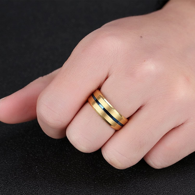 SAINTHERO Men\'s Women\'s Basic Wedding Bands 8MM Titanium Steel ...