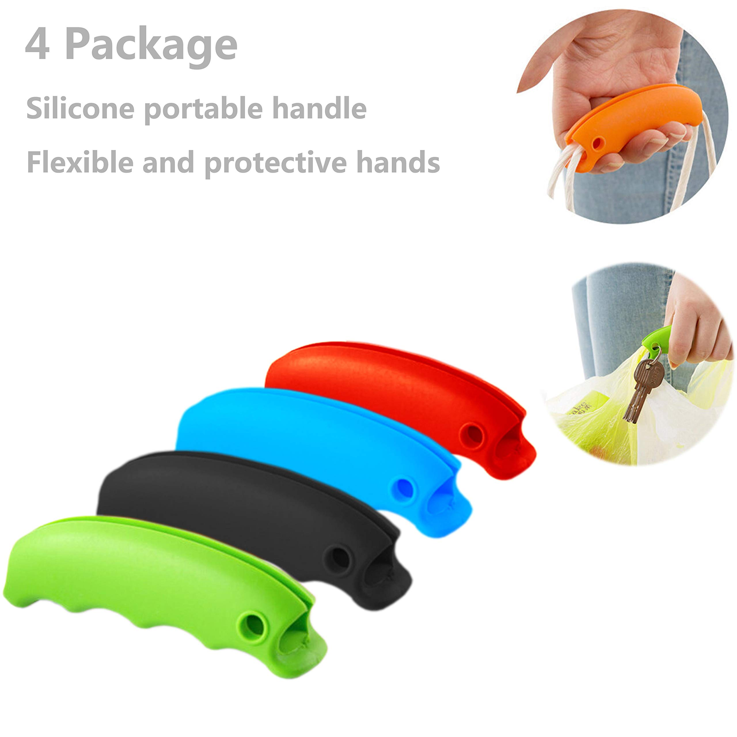 4 Package 4 Color Plastic Bag Holder Carrier, Strong Silicone Handle Carrier- For Grocery Plastic Bag, Shopping Bags Garbage bag
