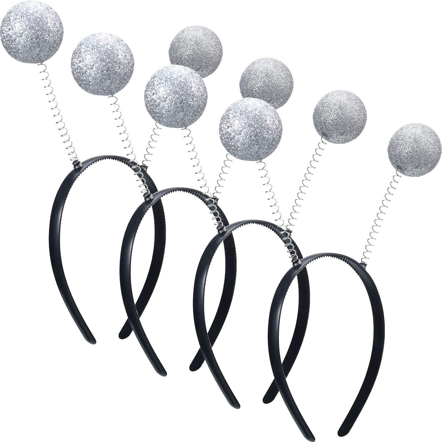 4 Pieces Martian Antenna Headband Alien Headband Boppers Silver Ball Head Boppers for Halloween Party Costume Supplies by Blulu