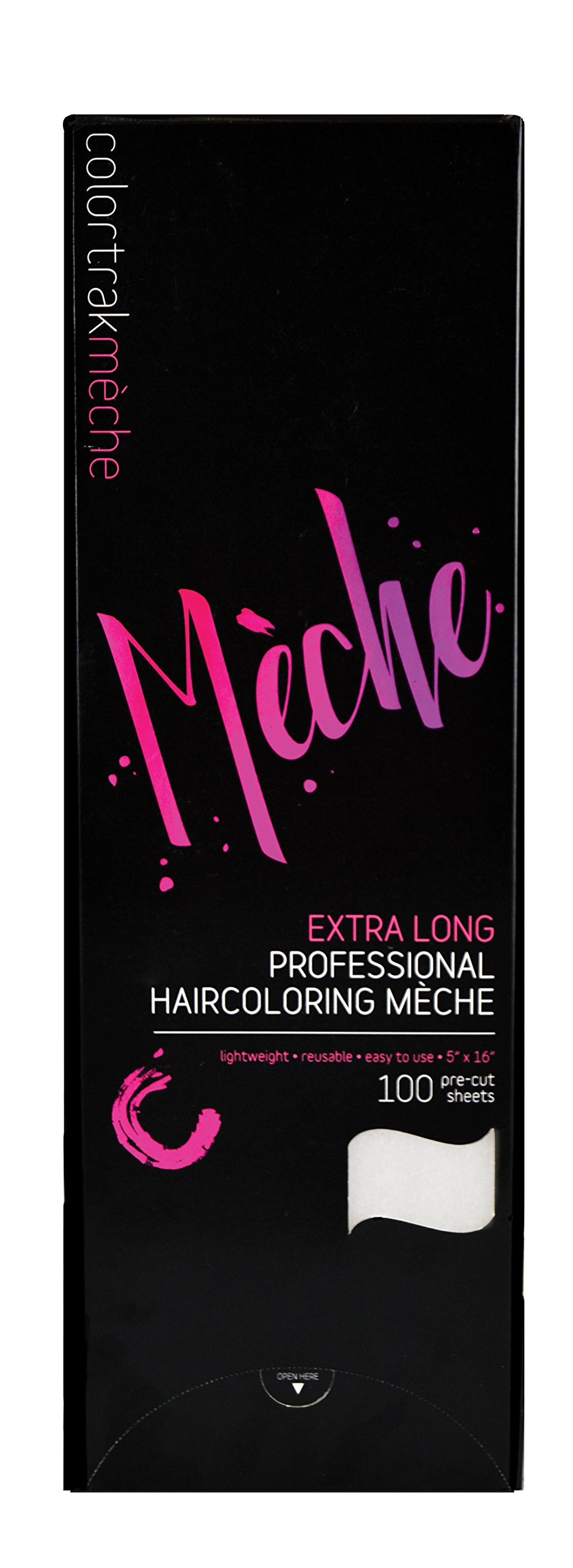 Colortrak Professional Reusable Hair Coloring Meche Sheets, Extra Long 5'' x 16'' (100 Count)