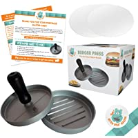 Burger Press for Perfect Hamburger Patties Non-Stick Aluminium Mould Create Best Burgers for Your Grill Oven or BBQ Easy To Clean Dishwasher Safe Eat Restaurant Style Meat Patty Inc 30 Wax Paper Discs