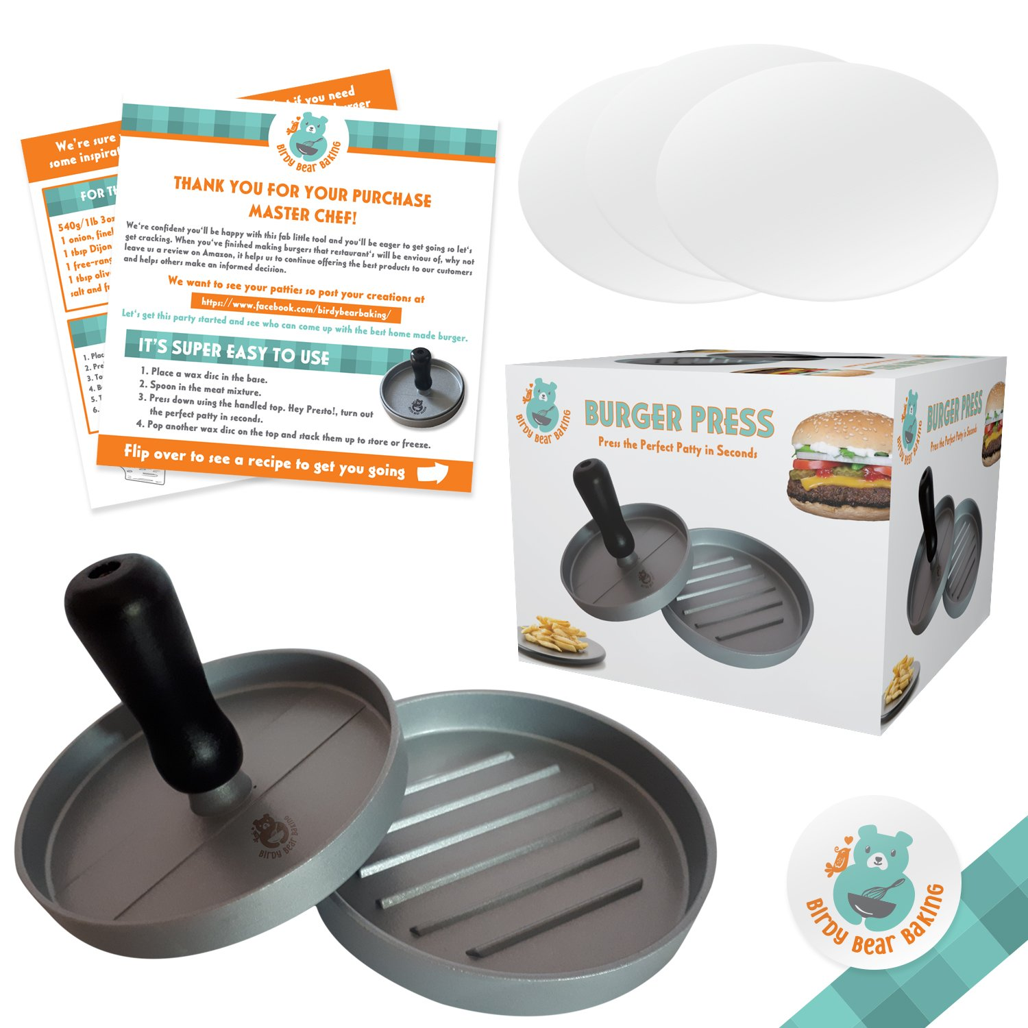 Burger Press for Making Perfect Hamburger Patties - Non-Stick Aluminium Mould To Easily Create the Best Burgers for Your Grill Oven or BBQ - Easy To Clean and Dishwasher Safe - Eat A Restaurant Style Meat Patty That You Made Yourself Includes 30 Wax Paper