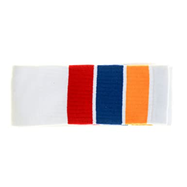 73d1bbdc76f9b Choobes (Unisex) 22 Inch knee high White tube socks with Gold/Royal Blue/Red  stripes: Amazon.co.uk: Clothing